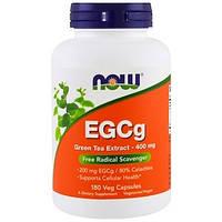 """Экстракт зеленого чая NOW Foods """"EGCg"""" для выведения свободных радикалов, 400 мг (180 капсул)"""