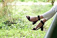 Женские босоножки Atomio Lardini из натуральной замши на каблуке черные, фото 2