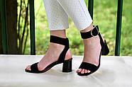 Женские босоножки Atomio Lardini из натуральной замши на каблуке черные, фото 3