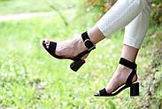 Женские босоножки Atomio Lardini из натуральной замши на каблуке черные, фото 7