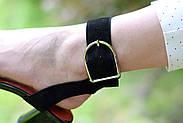 Женские босоножки Atomio Lardini из натуральной замши на каблуке черные, фото 8