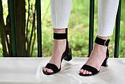 Женские босоножки Atomio Lardini из натуральной замши на каблуке черные, фото 4