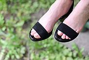 Женские босоножки Atomio Lardini из натуральной замши на каблуке черные, фото 5