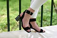 Женские босоножки Atomio Lardini из натуральной замши на каблуке черные, фото 9