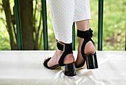 Женские босоножки Atomio Lardini из натуральной замши на каблуке черные, фото 6