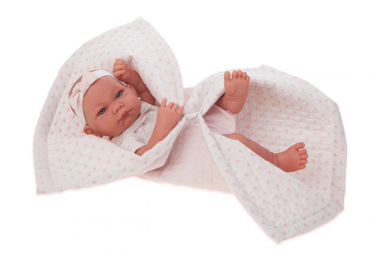 Кукла младенец игрушечная, Nica Manta в розовом 42см, Antonio Juan 5018