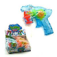 """Пистолет с подсветкой, пускающий пузыри """"Динозавр"""" (голубой) 3F-8  sco"""