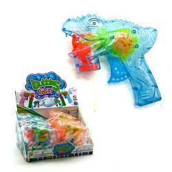 """Пистолет с подсветкой, пускающий пузыри """"Динозавр"""" (голубой)  sco"""
