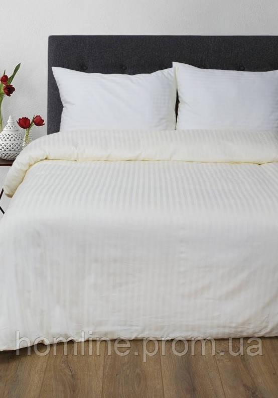 Постельное белье Lotus Сатин Страйп ванильное 1*1 полуторный размер (Турция)