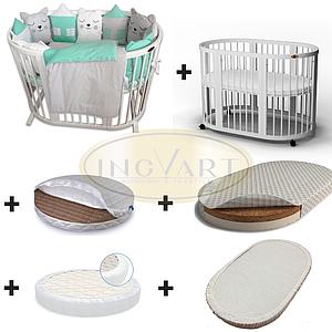 Набор: кроватка трансформер 9-в-1 белая+2 матраса + 2 наматрасника+ постельный комплект ТМ IngVart