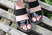 Женские босоножки Atomio Lardini из натуральной кожи черные лакированные, фото 5
