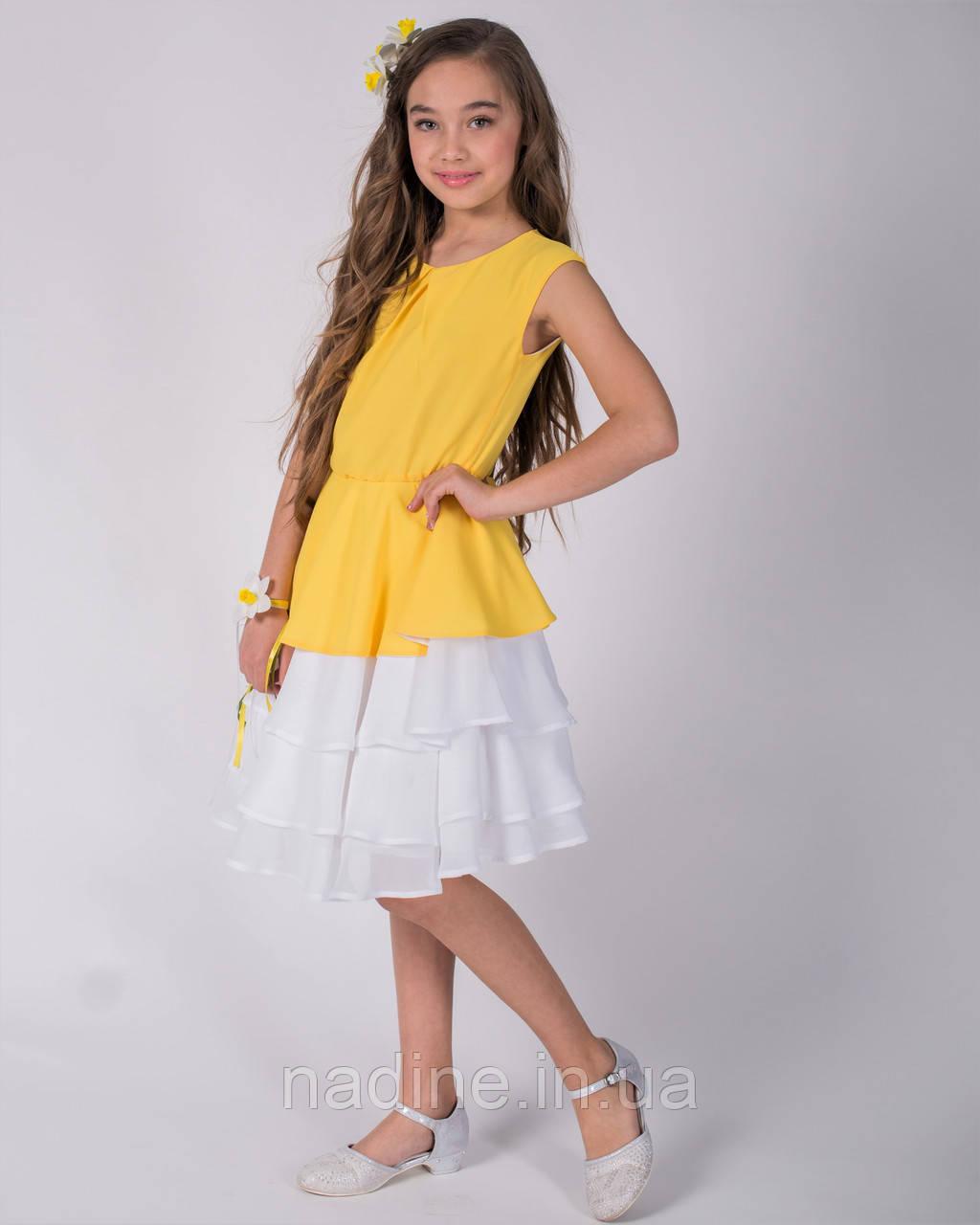 Платье дизайнерское Elegant Narcissus Eirena Nadine (135-34) на рост 134 Желтое с белым