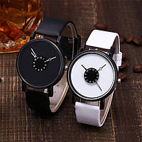 Женские и Мужские часы  кожаный ремешок (Белый ремешок белый циферблат)