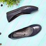 Туфли женские синие на утолщенной подошве, натуральная лаковая кожа, фото 2