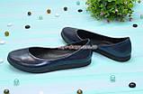 Туфли женские синие на утолщенной подошве, натуральная лаковая кожа, фото 4