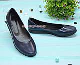 Туфли женские синие на утолщенной подошве, натуральная лаковая кожа, фото 3