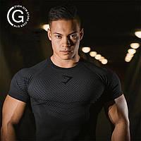 Мужская компрессионная футболка  черная