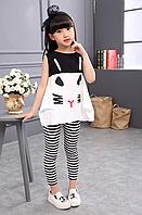 Комплект літній, з малюнком котика / Одежда для девочек с рисунком кота; детская одежда; комплект одежды