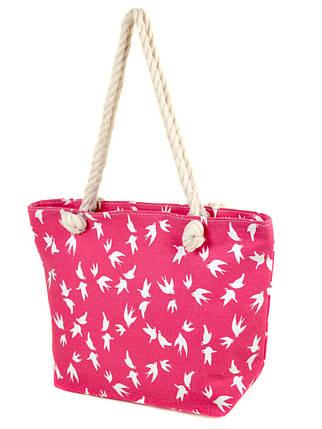 Сумка пляжная текстиль 2019-1 pink, фото 2