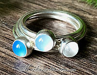 Подарочный набор 3 колец-капелек Отдых на море: голубой и синий халцедон, горный хрусталь