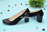 Женские классические туфли на каблуке из натуральной кожи и замши, фото 2