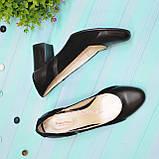 Женские классические туфли на каблуке из натуральной кожи и замши, фото 4
