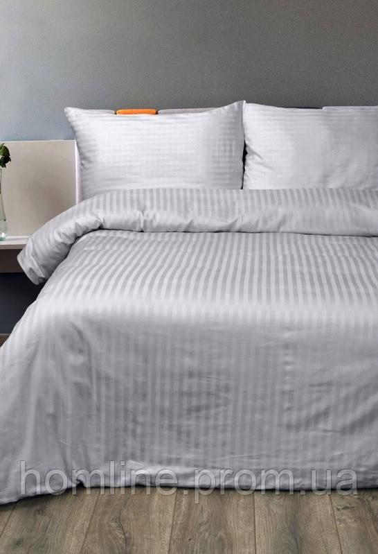 Постельное белье Lotus Сатин Страйп серый 1*1 полуторный размер (Турция)