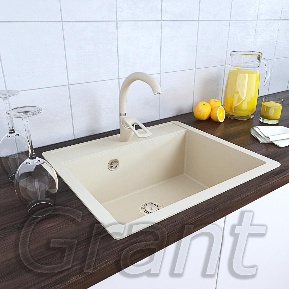 Граниткая кухонная мойка врезная Grant Mary ivory