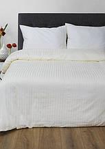 Постельное белье Lotus Сатин Страйп ванильное 1*1 семейный размер (Турция)