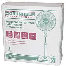 Вентилятор бытовой напольный с пультом GRUNHELM GH-1621. Вентилятор электрический комнатный поворотный, фото 3