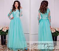 Красивое приталенное женское платье в пол верх из сетки расшитой 3d цветами с жемчугом и пышной юбкой s, m, l