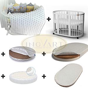 Набор: кроватка трансформер 9-в-1 белая+2 матраса+ 2 наматрасника + постельный комплект ТМ IngVart