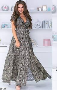 Модное платье с запахом длинное с рюшами короткий рукав леопардовый принт
