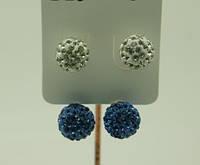 Двухцветные длинные серьги пусеты, бижутерия с кристаллами оптом. 126