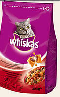 Сухой корм для кошек Whiskas Вискас с говядиной, 300 г