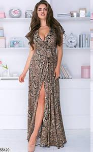Летнее платье с запахом макси с рюшами короткий рукав принт питон