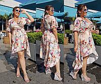 Красивое женское летнее платье на запах Большого размера