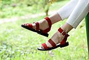 Женские босоножки LeXi из натуральной кожи и замши красные, фото 2