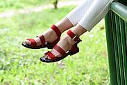 Женские босоножки LeXi из натуральной кожи и замши красные, фото 3