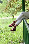 Женские босоножки LeXi из натуральной кожи и замши красные, фото 5