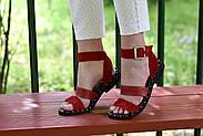 Женские босоножки LeXi из натуральной кожи и замши красные, фото 7