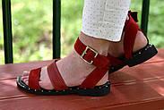 Женские босоножки LeXi из натуральной кожи и замши красные, фото 6