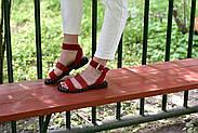 Женские босоножки LeXi из натуральной кожи и замши красные, фото 8