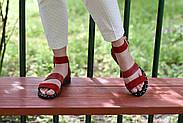 Женские босоножки LeXi из натуральной кожи и замши красные, фото 9