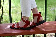 Женские босоножки LeXi из натуральной кожи и замши красные, фото 10