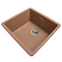 Кухонная мойка врезная под столешницу с евросифоном 40*37*22 см Galati Mira U-400 Teracotă 3411, фото 3