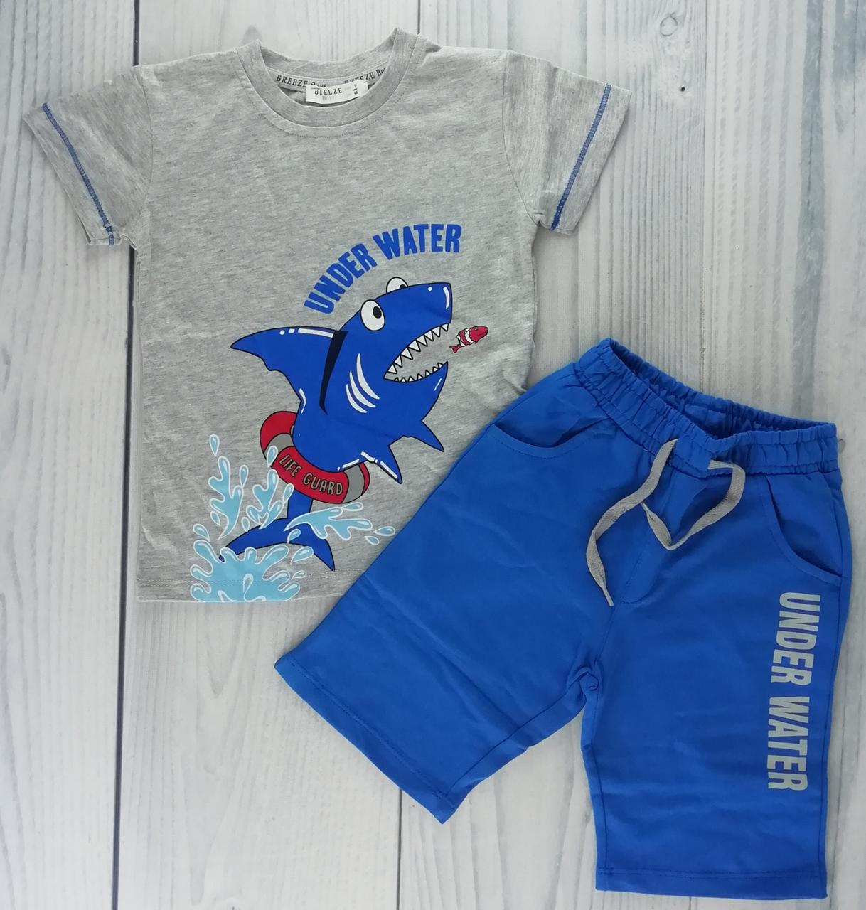 2c6c532b92f27 Комплект для мальчика: Футболка + шорты Акула Синий Хлопок Breeze Турция