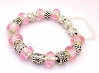 Браслет Pandora  (Пандора). С розовым муранским стеклом.