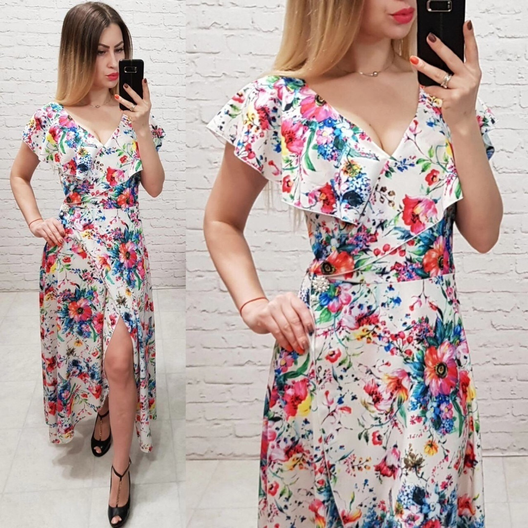 Длинное женское платье на запах под пояс с красивым декольте с воланом  42, 44, 46, 48