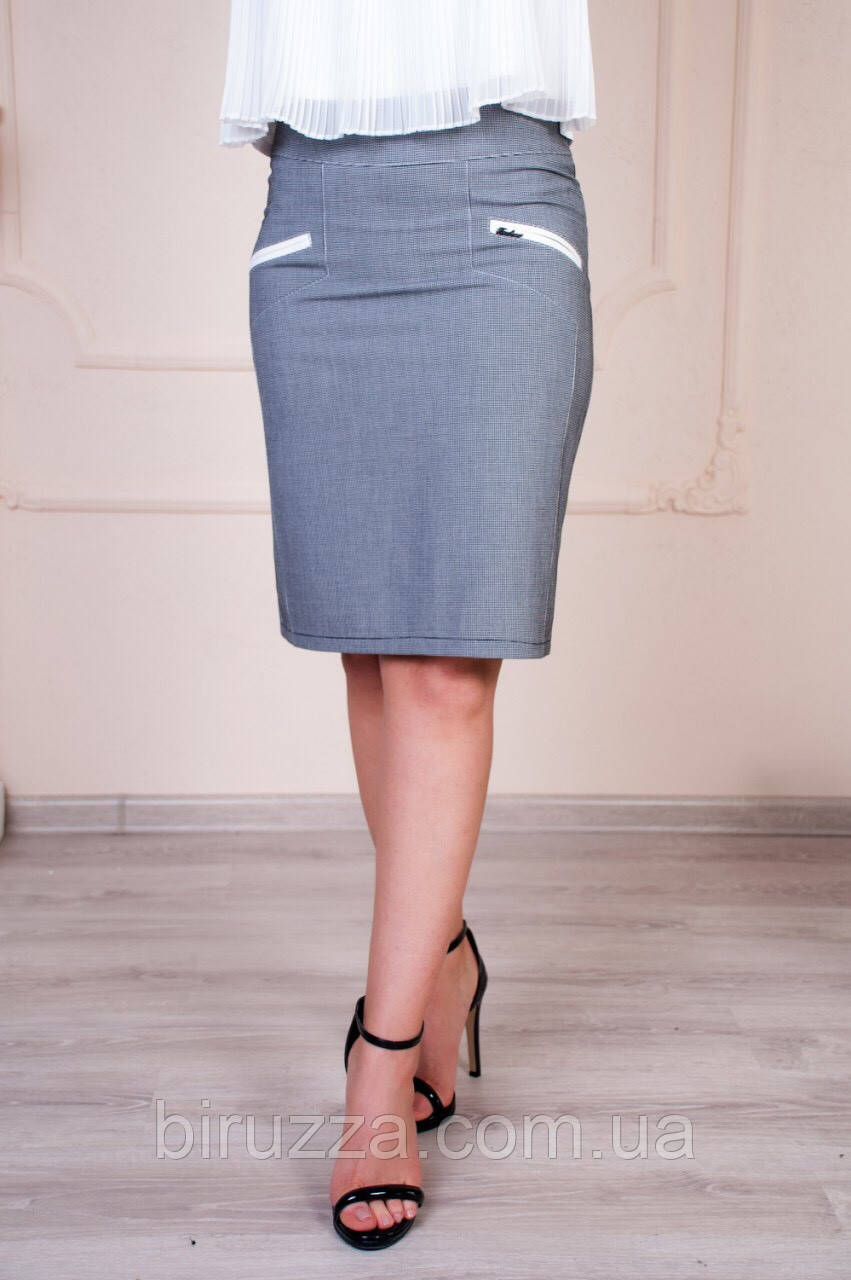 Офисная женская классическая серая юбка из турецкой ткани размер 44-52